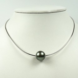Cavo Argento 925 40 cm con Perla di Tahiti verde mandorla 8-9 mm AAA