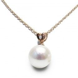 Pendente Cuore in oro rosa 14k diamante perla Akoya bianca AAA
