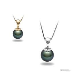 Pendente Oro 14k e perla di coltura di Tahiti nera