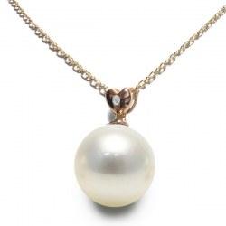 Pendente in oro rosa 14k diamante e perla Australiana bianca argentata AAA