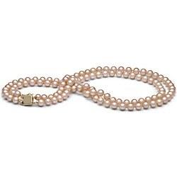 Collana Doppio Filo 43/45 cm Perle DOLCEHADAMA rosa pesca 6-7 mm