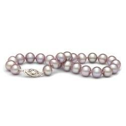 Braccialetto 18 cm di perle di coltura d'acqua dolce lavanda da 7-8 mm