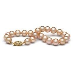 Braccialetto 18 cm di perle di coltura d'acqua dolce rosa pesca da 7-8 mm