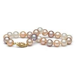 Braccialetto 18 cm di perle di coltura d'acqua dolce multicolori da 7-8 mm