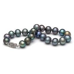 Braccialetto 18 cm di perle di coltura d'acqua dolce da 7-8 mm, nere