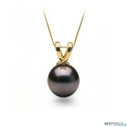 Pendente Ruban oro 18k con perla nera di coltura di Tahiti AA+ o AAA