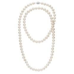 Collana sautoir 90 cm di perle d'acqua dolce bianche da 8-9 mm