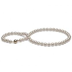 Collana girocollo 36 cm Perle di Coltura Akoya 7-7.5 mm, bianche