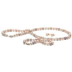 Parure 3 gioielli di perle di coltura d'acqua dolce, 7-8 mm, multicolore