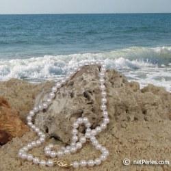 Collana di perle di coltura Akoya, 55 cm, 6-6.5 mm, bianche