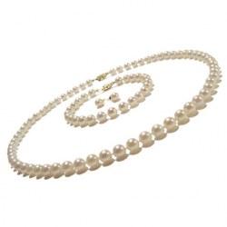 Parure 3 gioielli di perle di coltura Akoya, 6-6.5 mm, bianche