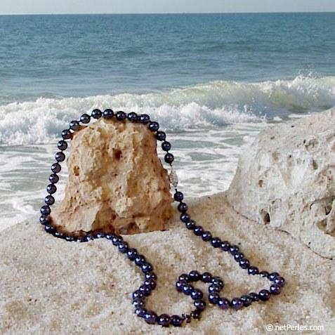 Collana di perle di coltura Akoya, 55 cm, 7-7.5 mm nere AA+