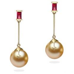 Orecchini in oro 18k con rubini e perle dorate delle Filippine 9-10 mm AAA