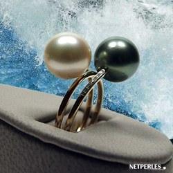 Anello You&Me Oro 18k e diamanti e perle coltivate di Tahiti e Australiana