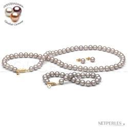 Parure 3 gioielli 45/18 cm perle d'acqua dolce 7-8 mm lavanda DOLCEHADAMA