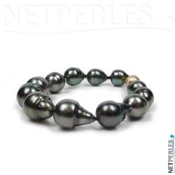 Bracciale di perle nere di Tahiti barocche 9,5-12,5 mm fermaglio oro 14k