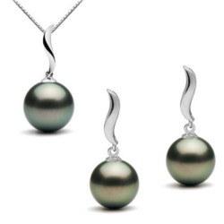 Parure di 2 gioielli: Pendente e Orecchini di perle di Tahiti in Oro 9k