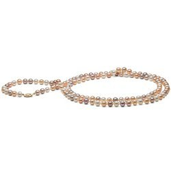 Collana sautoir 130 cm di perle d'acqua dolce da 6-7 mm multicolori