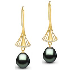 Orecchini oro 9k diamanti con perle di Tahiti Drop (goccia) qualità AAA