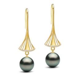 Orecchini oro 9k diamanti con perle di Tahiti qualità AAA