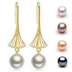 Orecchini in oro 9k con perle d'acqua dolce 10-11 mm AAA e diamanti