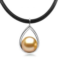 Pendente in Oro Bianco 9k con Perla dorata delle Filippine qualità AAA