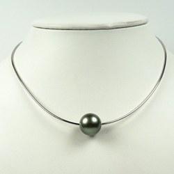 Cavo 42 cm Ø 1 mm, argento 925 con Perla di Tahiti