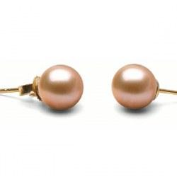Orecchini oro 18k perle di Acqua Dolce rosa pesca 7-8 mm DOLCEHADAMA