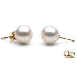 Orecchini oro 18k perle di coltura di Acqua Dolce 9-10 mm bianche AAA