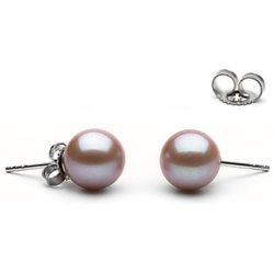 Orecchini oro 18k perle di Acqua Dolce 9-10 mm Lavanda AAA