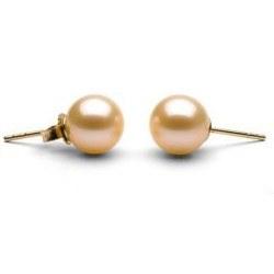 Orecchini Oro 18k di perle d'Acqua Dolce 9-10 mm rosa pesca AAA