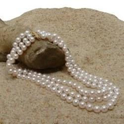 Collana triplo filo 40/42/44 cm perle Akoya 6-6.5 mm bianche
