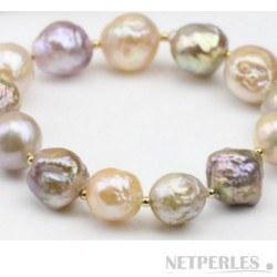 Braccialetto di perle barocche d'acqua dolce 11-13 mm multicolori con perline placcate oro
