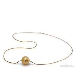 Pendente con perla dorata delle Filippine e catenina passante in oro 14k