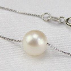 Perla di acqua dolce 8-9 mm AAA su catenina corda argento 45 cm