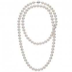 Collana 114 cm di perle di coltura d'acqua dolce, 10-11 mm, bianche