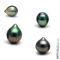 Perla di coltura di Tahiti nera forma a goccia lustro eccellente AAA