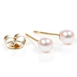 Orecchini Oro 18k piccole perle acqua dolce 5-6 mm bianche AAA