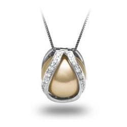 Gabbia oro e diamanti con perla Australiana Dorata non forata AAA