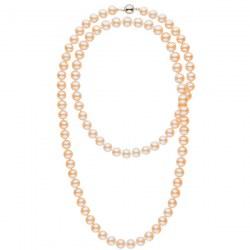 Collana sautoir 90 cm di perle d'acqua dolce rosa pesca da 9-10 mm