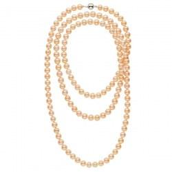 Collana sautoir 130 cm di perle d'acqua dolce rosa pesca da 9-10 mm