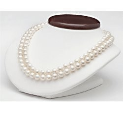 Collana a doppio filo di perle d'acqua dolce da 9-10 mm, 43 e 45 cm
