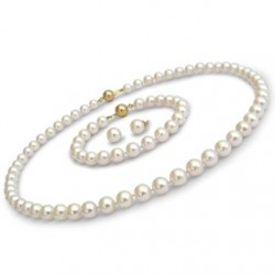 Parure 3 gioielli di perle Akoya 45/18 cm 7.5-8 mm bianche