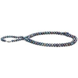 Collana lunga 90 cm di perle d'acqua dolce nere da 7-8 mm