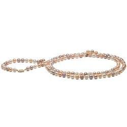 Collana sautoir 90 cm di perle d'acqua dolce da 7-8 mm multicolori