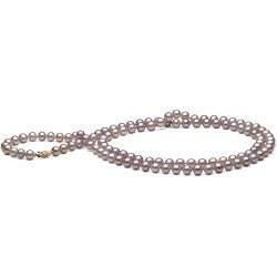 Sautoir 90 cm di perle d'acqua dolce lavanda 7-8 mm