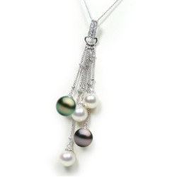 Pendente Oro 14k diamanti con 3 perle Akoya 7-7,5 mm e 2 Tahiti 8-9 mm AAA