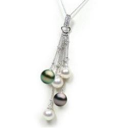 Pendente Argento 925 diamanti con 3 perle Akoya 7-7,5 mm e 2 Tahiti 8-9 mm AAA