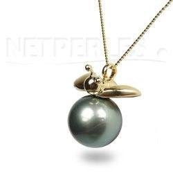Pendente a forma di Ape in oro 18k con perla di Tahiti di qualità AAA
