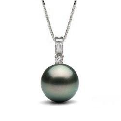 Pendente in oro 14k con perla di coltura di Tahiti e diamanti